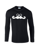 Mustache Face Mens Long SleeveT Shirt White-Gildan-Daataadirect.co.uk
