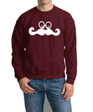 Mustache Face Mens SweatShirt White-Gildan-Daataadirect.co.uk