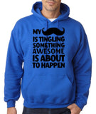 Mustache tingling something happen Mens Hoodies Black-Gildan-Daataadirect.co.uk