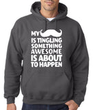 Mustache tingling something happen Mens Hoodies White-Gildan-Daataadirect.co.uk