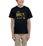 My Dog My Heart Gold Kids T Shirt-Gildan-Daataadirect.co.uk