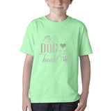 My Dog My Heart Silver Kids T Shirt-Gildan-Daataadirect.co.uk