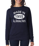 "[daataadirect.co.uk]-Made in 1955 All Orignal Parts Women Sweat Shirts White-SweatShirts-ANVIL-Navy-S UK 10 Euro 34 Bust 32""-Daataadirect"