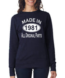 Made in 1981 All Original Parts Women Sweat Shirts White-ANVIL-Daataadirect.co.uk