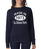 Made in 1973 All Original Parts Women Sweat Shirts White-ANVIL-Daataadirect.co.uk
