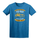 Never Underestimate An Old Man With A Classic Mens T Shirts-t-shirts-Gildan-Antique Sapphire-S-Daataadirect