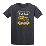 Never Underestimate An Old Man With A Classic Mens T Shirts-t-shirts-Gildan-Dark Heather-S-Daataadirect