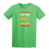 Never Underestimate An Old Man With A Classic Mens T Shirts-t-shirts-Gildan-Heather Irish Green-S-Daataadirect