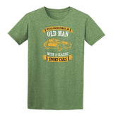 Never Underestimate An Old Man With A Classic Mens T Shirts-t-shirts-Gildan-Heather Military Green-S-Daataadirect