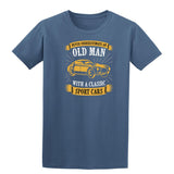 Never Underestimate An Old Man With A Classic Mens T Shirts-t-shirts-Gildan-Indigo Blue-S-Daataadirect