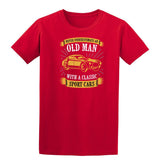 Never Underestimate An Old Man With A Classic Mens T Shirts-t-shirts-Gildan-Red-S-Daataadirect