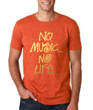 No Music No Life Men T Shirt Gold-Gildan-Daataadirect.co.uk