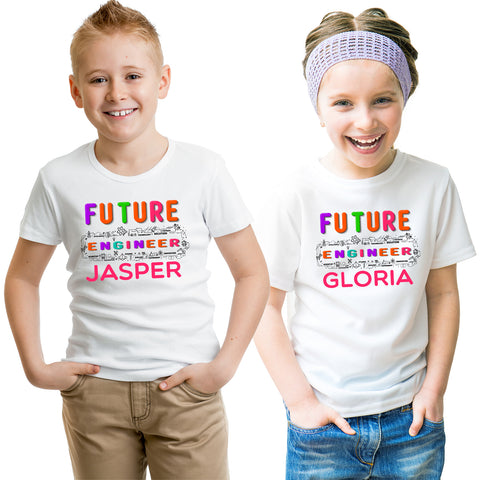 Personalized Add Your Name Future Engineer Kid's T-Shirt-Gildan-Daataadirect.co.uk