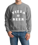 Pizza And Beer Men Sweat Shirts White-Gildan-Daataadirect.co.uk