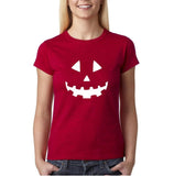 Pumpkin smile face Womens T Shirts White-Gildan-Daataadirect.co.uk