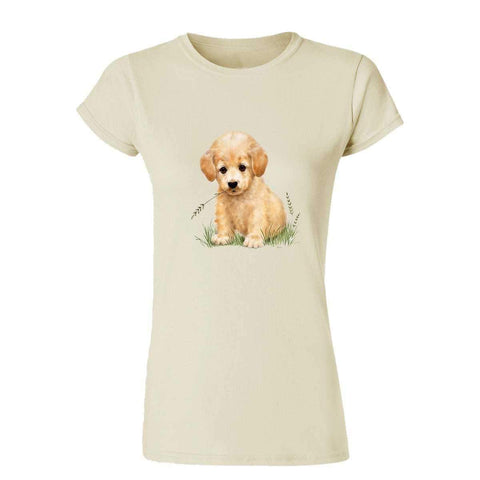 Puppy with Grass in Mouth 20218HL6 Womens T Shirt-Gildan-Daataadirect.co.uk