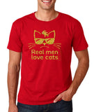 Real Man Love Cats Gold Mens T Shirt-Gildan-Daataadirect.co.uk