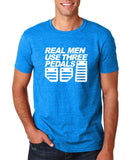 Real Men Uses Three Pedals Men T Shirts White-Gildan-Daataadirect.co.uk