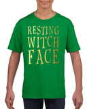 Resting witch face Kids T Shirt Gold-Gildan-Daataadirect.co.uk