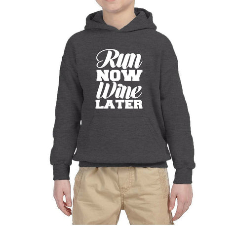 Run Now Wine Later Kids Hoodies White-Gildan-Daataadirect.co.uk