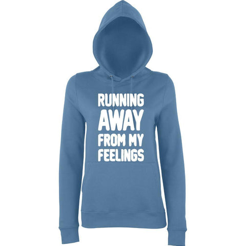 RUNNING AWAY FROM MY FEELINGS Women Hoodies White-AWD-Daataadirect.co.uk