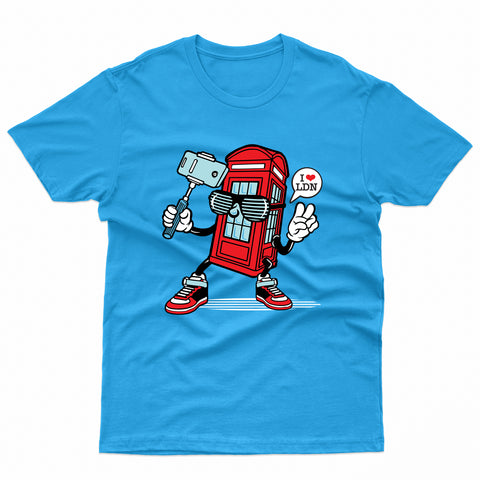 Selfie London Phone Booth Calling T-Shirt-Gildan-Daataadirect.co.uk