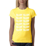 Slay Slay Slay Slay Women T Shirt White-Gildan-Daataadirect.co.uk