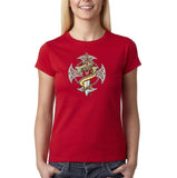 Snake Sword Cross Womens T Shirt-Gildan-Daataadirect.co.uk