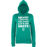 SQUATS? I THOUGHT YOU SAID LET'S DO SHOTS Women Hoodies White-AWD-Daataadirect.co.uk