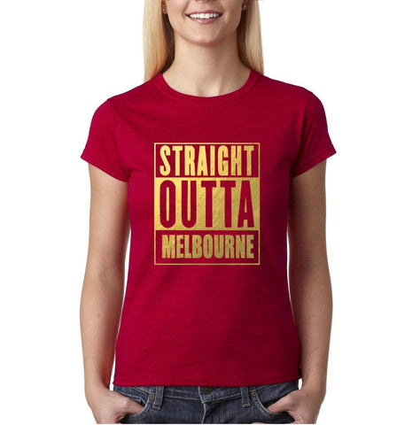 Straight outta melbourne Women T Shirts Gold-Gildan-Daataadirect.co.uk