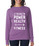STRENGTH, POWER, HEALTH - FITNESS Womens Sweat Shirts White-ANVIL-Daataadirect.co.uk