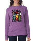 Surf Pirate Skateboard Beech Women SweatShirts-Anvil-Daataadirect.co.uk