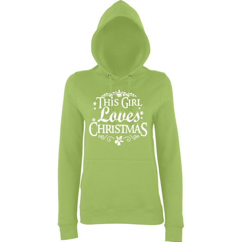 This girl loves christmas Womens Hoodies-AWD-Daataadirect.co.uk