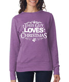 This guy loves christmas Womens SweatShirt White-ANVIL-Daataadirect.co.uk