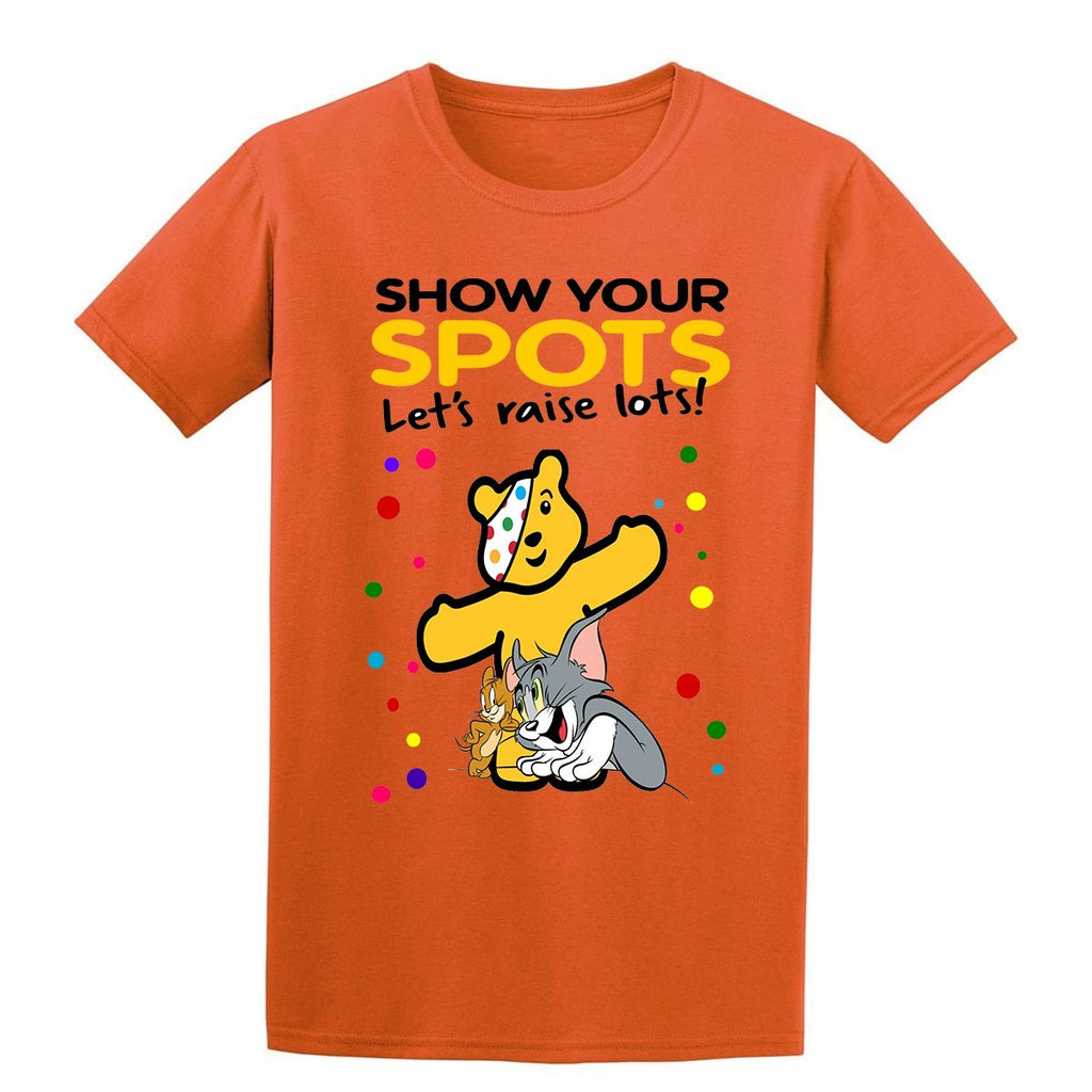 f5ed42385 Tom and Jerry Spotty Day Children In Need Kids T-Shirt-Gildan-Daataadirect