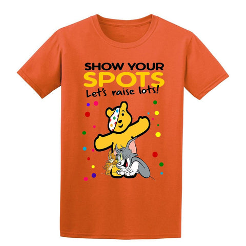 Tom and Jerry Spotty Day Children In Need Kids T-Shirt-Gildan-Daataadirect.co.uk