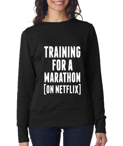TRAINING FOR A MARATHON (ON NETFLIX) Womens Sweat Shirts White-ANVIL-Daataadirect.co.uk