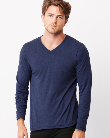 Triblend Long Sleeve V-Neck Tee Bella Mens Long Sleeve T-Shirts CA3425-Bella-Daataadirect.co.uk