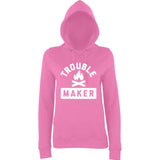 Trouble Maker Women Hoodies White-AWD-Daataadirect.co.uk