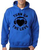 Turn Up The Love Music Lover Men Hoodies Black-Gildan-Daataadirect.co.uk