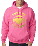 Turn Up The Love Music Lover Men Hoodies Gold-Gildan-Daataadirect.co.uk