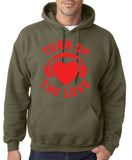 Turn Up The Love Music Lover Men Hoodies Red-Gildan-Daataadirect.co.uk