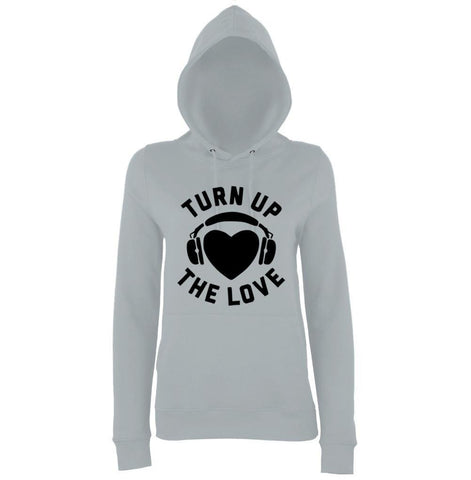 Turn Up The Love Music Lover Women Hoodies Black-AWD-Daataadirect.co.uk