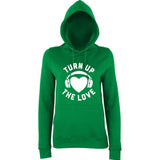Turn Up The Love Music Lover Women Hoodies White-AWD-Daataadirect.co.uk