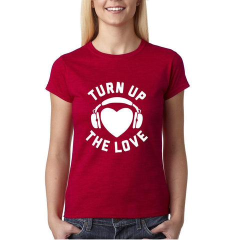 Turn Up The Love Music Lover Women T Shirts White-Gildan-Daataadirect.co.uk