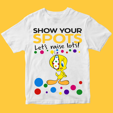 Spotty Day Tweety Pudsey Bear Kids T Shirts-Gildan-Daataadirect.co.uk