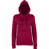 Who cares cat Women Hoodies Black-AWD-Daataadirect.co.uk
