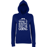 Wine Quilting keep me going Women Hoodies White-AWD-Daataadirect.co.uk