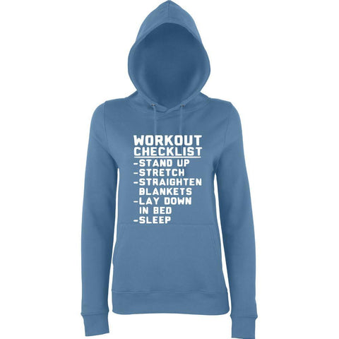 WORKOUT CHECKLIST Women Hoodies White-AWD-Daataadirect.co.uk