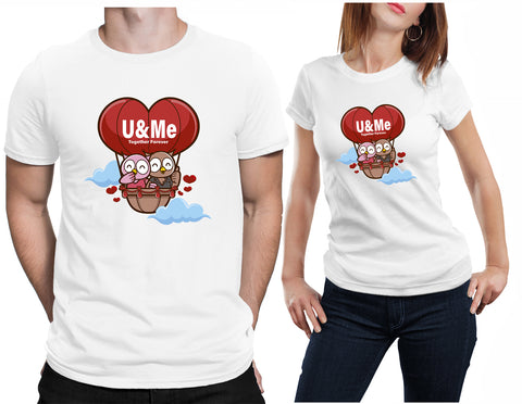 Couple Owls You And Me Together Valentines Gift T-Shirt-Daataadirect-Daataadirect.co.uk